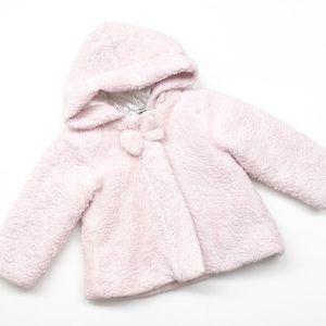 Little Me pink fleece toddler jacket with hood
